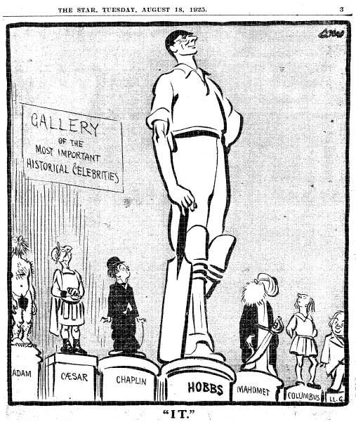 David Low drew cricket star Jack Hobbs towering over other historical figures. Credit: Zombie Time.