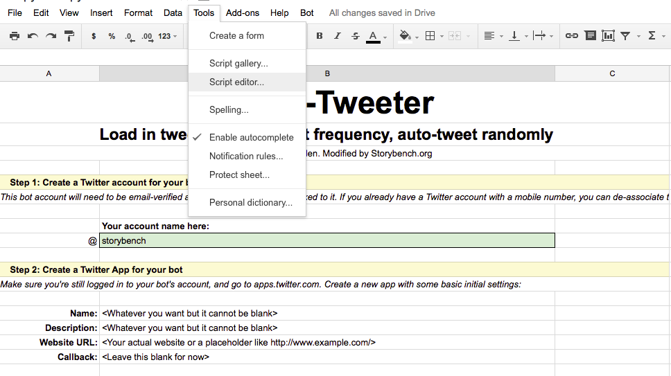 How to build a Google Spreadsheet that auto-tweets your archives