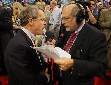 Robert Siegel at a Republican National Convention. Credit: NPR.