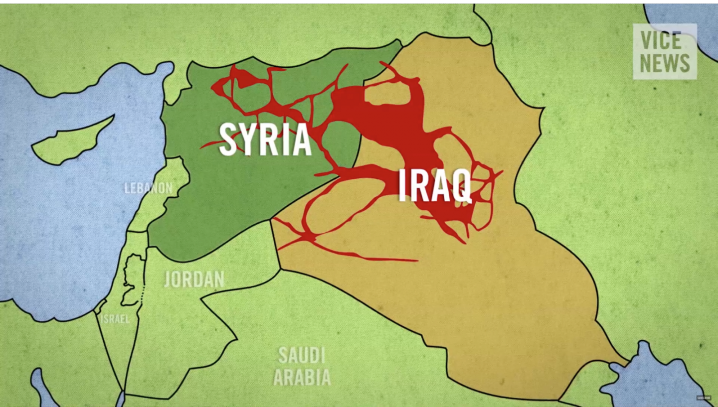 """Fig. 1. Screenshot from the Vice News documentary """"The Islamic State"""", August 14, 2014."""