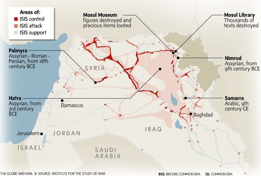 Fig. 7. Map published in The Globe and Mail, May 2015 based on a map by @TheStudyofWar