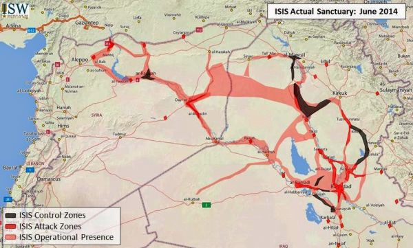 Fig. 8. ISIS sanctuary map June 2014, @TheStudyofWar