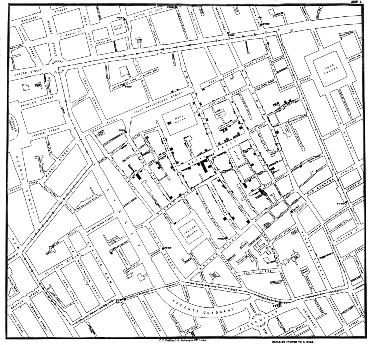 Fig. 9. John Snow's spot map of the Broad street Cholera outbreak 1854
