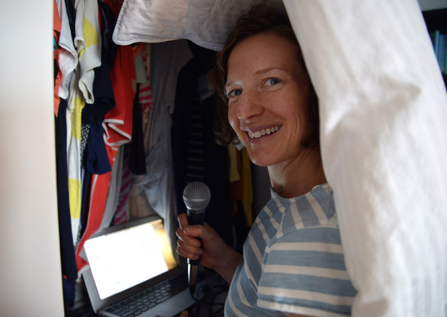 Gastropod Co-host Nicola Twilley recording in her closet. Photo by Geoff Manaugh.