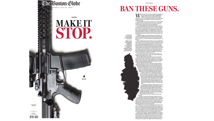 """The """"Make it Stop"""" editorial took over Boston Globe's front page with great repercussion (Credit: Boston Globe)"""