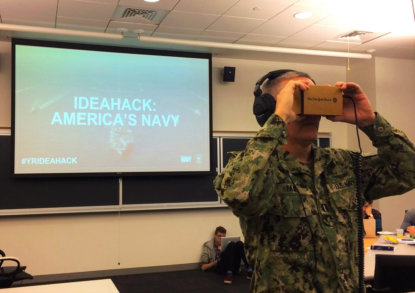 At Northeastern's Idea Hack, Lt. Richard Fail experienced 360 video for the first time.
