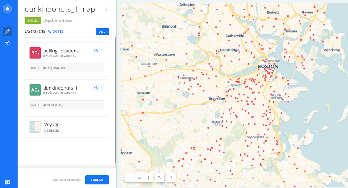 How to do basic distance analysis in Carto using polling locations