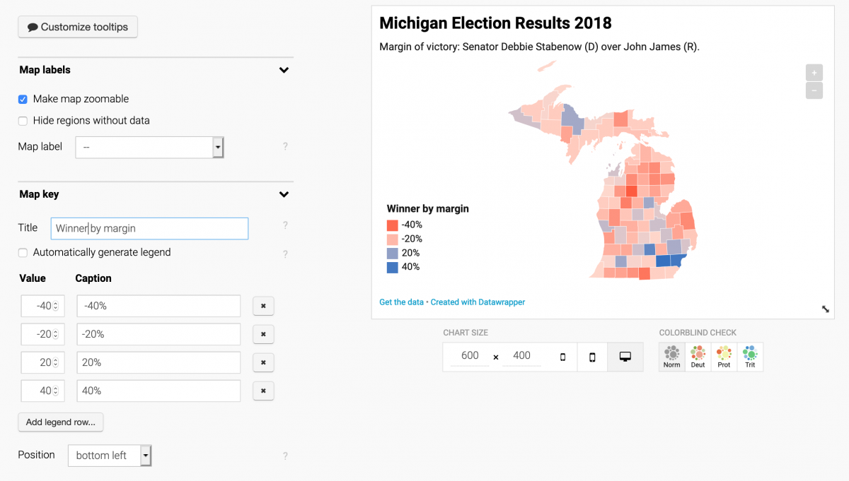 How to build margin of victory election maps with