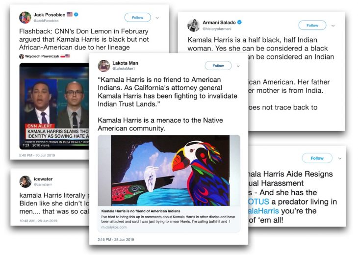 Quantifying the Twitter attacks on Kamala Harris during and