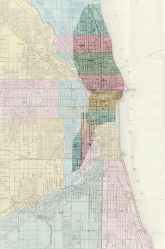 Map showing the area affected by the Great Chicago Fire via Wikipedia