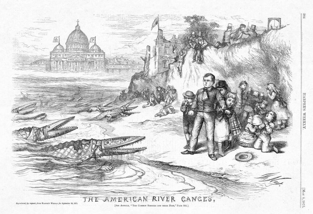 "Thomas Nast's ""The American River Ganges"" shows bishops attacking public schools. From Harper's Weekly 1871. Credit Wikipedia."