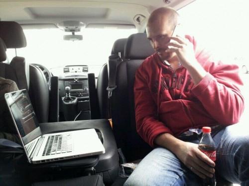 Damien Van Achter in his mobile newsroom.
