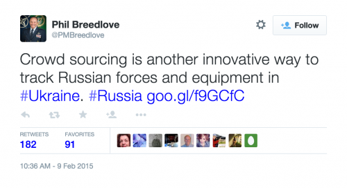 NATO's Supreme Allied Commander Europe tweeting about the Bellingcat project.