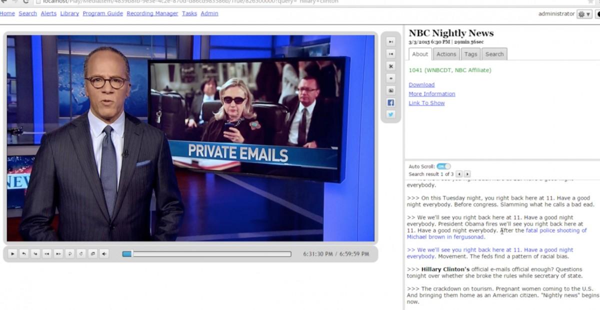 A screenshot of SnapStream.