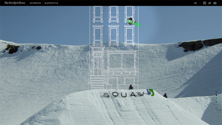 The team draw a three stories building to better display the amplitude of Mark McMorris's jump