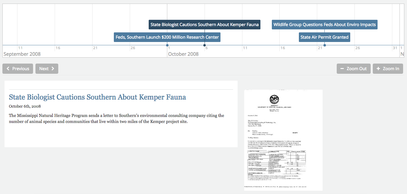 The History Project helped Urbina visualize his investigation of the Kemper County power plant.
