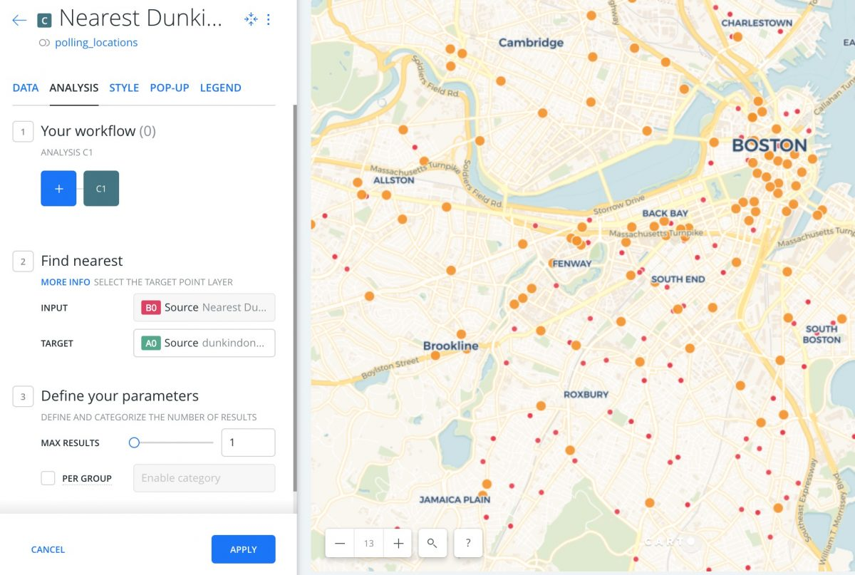 How to do basic distance ysis in Carto using polling ... Dunkin Donuts Location Map on tim hortons locations map, publix locations map, taco john's locations map, applebee's locations map, bonefish grill locations map, 7-eleven locations map, macaroni grill locations map, microsoft locations map, jiffy lube locations map, baskin-robbins locations map, fazoli's locations map, o'charley's locations map, starbucks locations map, jersey mike's locations map, jimmy john's locations map, au bon pain locations map, outback steakhouse locations map, checkers and rally's locations map, pilot travel center locations map, chick-fil-a locations map,